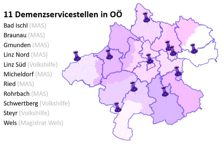 Karte von OÖ mit Pins, wo sich die Servicestellen befinden